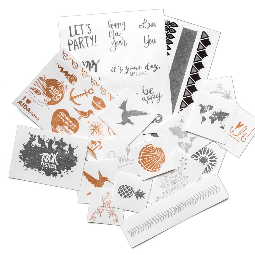 Temporary Tattoos In Metallic With Your Design From 100 Pieces
