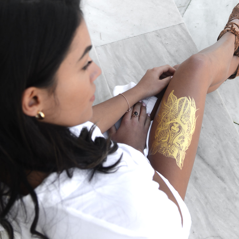 Gold Tattoo Wolf Tribal