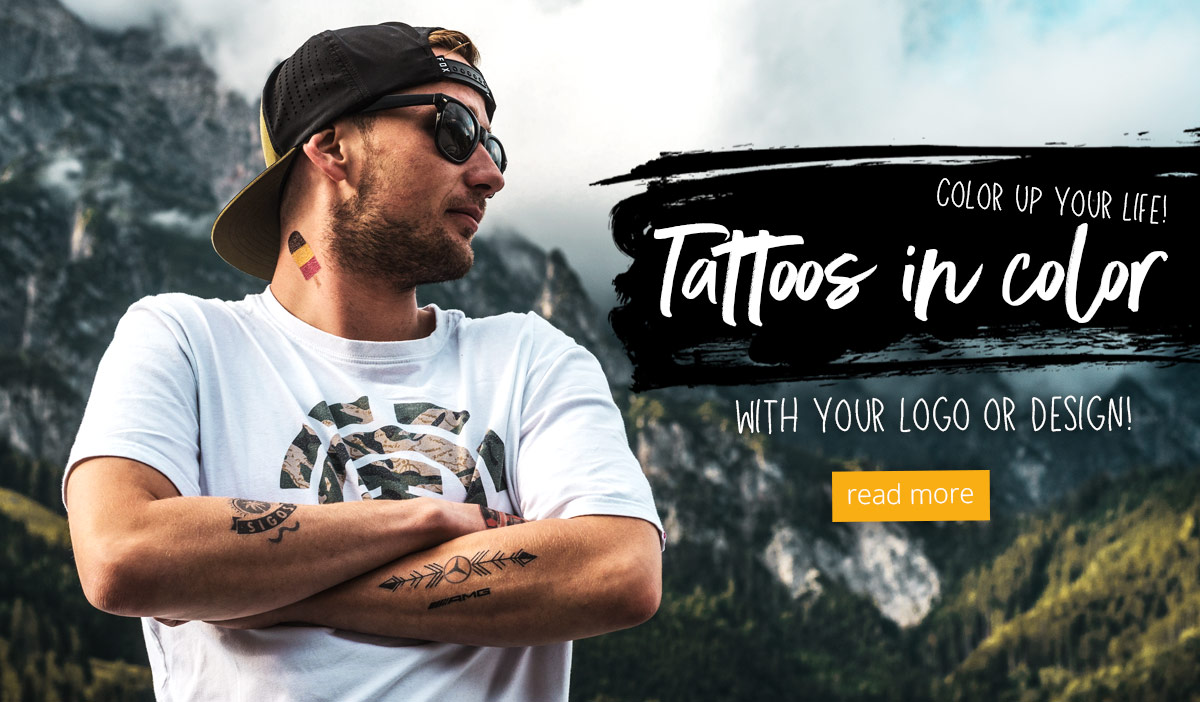 Tattoos in colour with your Logo or Design Infopage Link