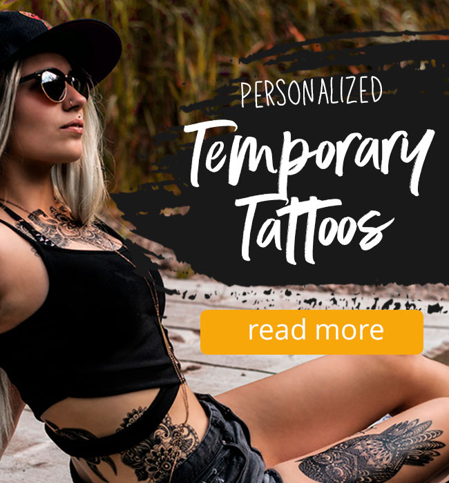 Personalized temporary Tattoos in Black infopage Link