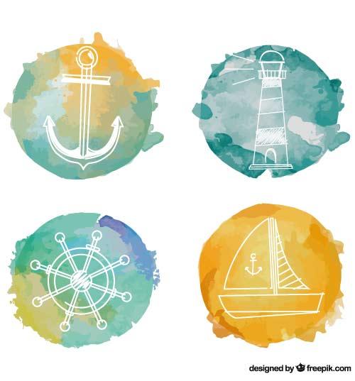 Tattoo-Set Sommer nautische Motive
